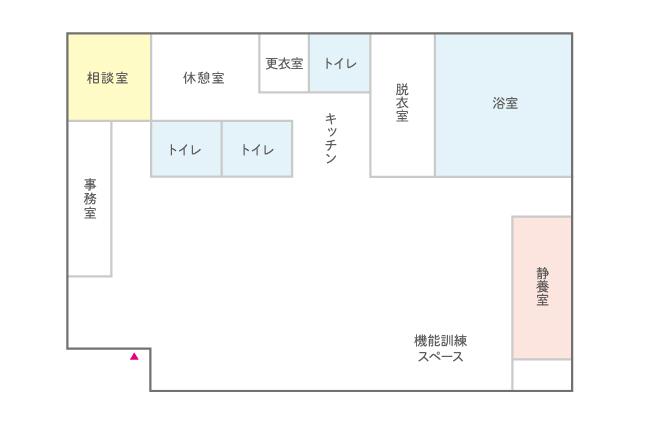 はなまるデイサービス武蔵浦和のフロア見取り図